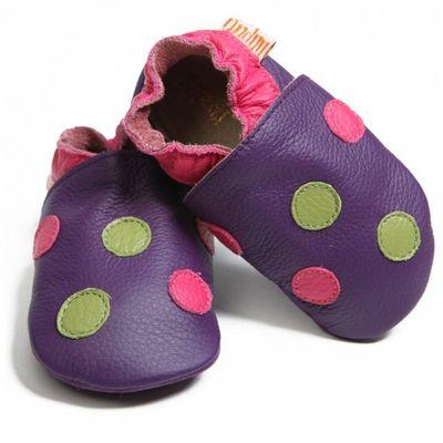 Boty Liliputi - puntíkované fialové