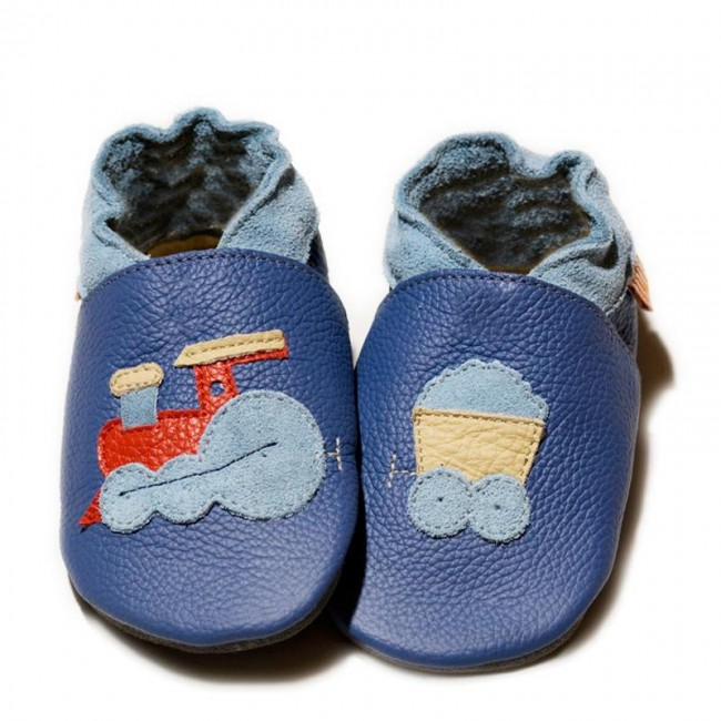 Boty Liliputi - modré s vláčkem - Liliputi.sk 4c2403a8a14